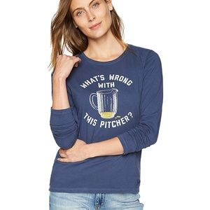 NWT Life Is Good Navy Crusher Wrong Pitcher Tee S
